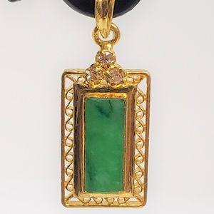 Jewelry - Solid 24K Gold Diamond and Apple Jade Pendant